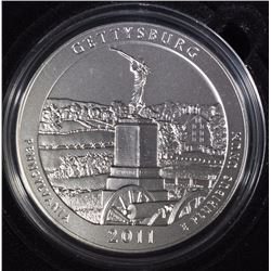 2011-P  AMERICA THE BEAUTIFUL GETTYSBURG 5 Oz SILVER QUARTER IN ORIG BOX & COA