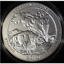2010-P  AMERICA THE BEAUTIFUL YELLOWSTONE 5 Oz SILVER QUARTER IN ORIG BOX & COA