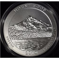 2010-P  AMERICA THE BEAUTIFUL MOUNT HOOD 5 Oz SILVER QUARTER IN ORIG BOX & COA