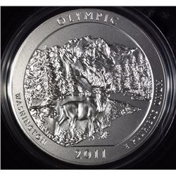 2011-P  AMERICA THE BEAUTIFUL OLYMPIC 5 Oz SILVER QUARTER IN ORIG BOX & COA
