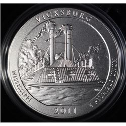 2011-P  AMERICA THE BEAUTIFUL VICKSBURG 5 Oz SILVER QUARTER IN ORIG BOX & COA