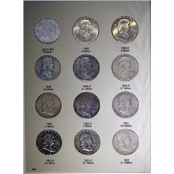 NICE CIRC SET OF FRANKLIN HALF DOLLARS: 1948-1963 35-COINS, 48-D & 62 ARE GEM BU
