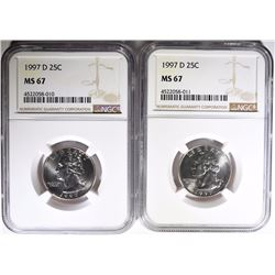 ( 2 ) 1997-D WASHINGTON QUARTERS, NGC MS-67