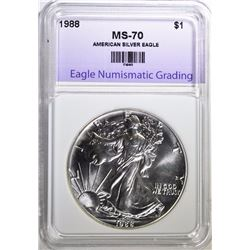 1988 AMERICAN SILVER EAGLE, ENG PERFECT GEM BU