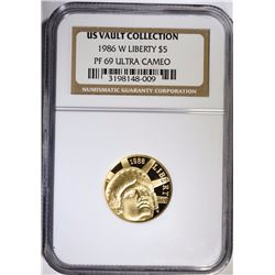1986-W STATUE OF LIBERTY $5.00 GOLD COMMEMORATIVE, NGC PF-69 ULTRA CAMEO