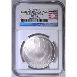 2014-P BASEBALL HALL OF FAME COMMEMORATIVE SILVER DOLLAR, NGC MS-69  E.R.