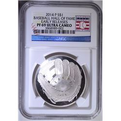 2014-P BASEBALL HALL OF FAME COMMEORATIVE DOLLAR, NGC PF-69 ULTRA CAMEO E.R.