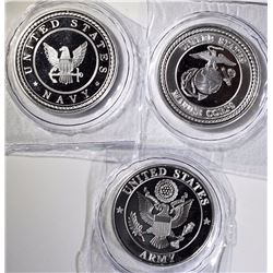 1-EACH ARMY, NAVY & MARINES ONE OUNCE .999 SILVER ROUNDS  SEALED IN PLASTIC