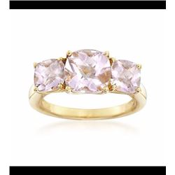 3.50 ct. t.w. Pink Amethyst Three-Stone Ring in 14kt Gold Over Sterling. Size 8