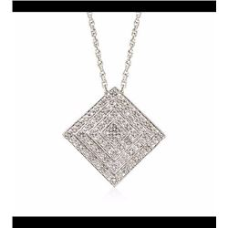 .15 ct. t.w. Diamond Square Pendant Necklace in Sterling Silver. 18""