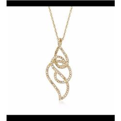 """.13 ct. t.w. Diamond Swirl Pendant Necklace in 14kt Yellow Gold. 18"""""""