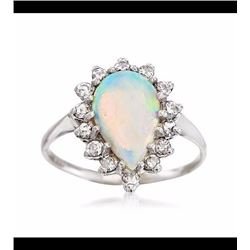 Vintage Opal and .45 ct. t.w. Diamond Ring in 14kt White Gold. Size 7.5
