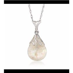 """Floating Opal Necklace in 14kt White Gold. 18"""""""