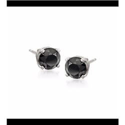 1.00 ct. t.w. Black Diamond Stud Earrings in Sterling Silver
