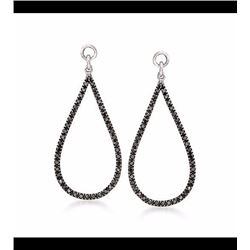 .25 ct. t.w. Black Diamond Open Teardrop Earring Jackets in Sterling Silver