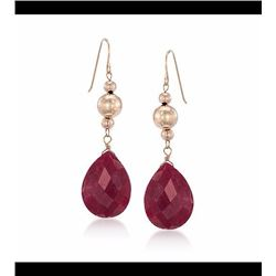 20.00 ct. t.w. Ruby Drop Earrings in 14kt Yellow Gold