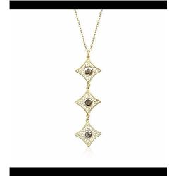 Italian Hematite Triple Drop Filigree Necklace in 14kt Yellow Gold. 18
