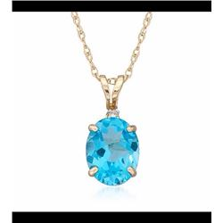 4.70 Carat Blue Topaz Pendant Necklace in 14kt Yellow Gold. 18""