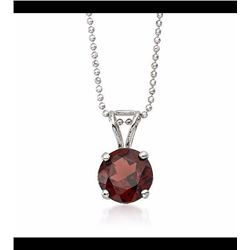 2.50 Carat Garnet Solitaire Necklace in 14kt White Gold. 16""