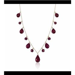 34.15 ct. t.w. Ruby Drop Necklace in 14kt Yellow Gold. 18""