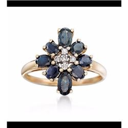 Oval Sapphire Floral Ring With Diamond Accents in 14kt Yellow Gold