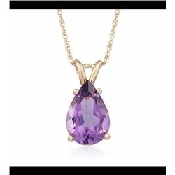 2.80 Carat Amethyst Pendant Necklace in 14kt Yellow Gold. 18""
