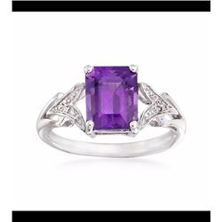 2.00 Carat Amethyst Ring With Diamond Accents in 14kt White Gold