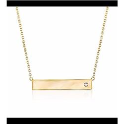 """14kt Yellow Gold Bar Necklace With Diamond Accent. 16"""""""