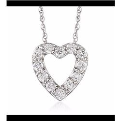 """.24 ct. t.w. Diamond Heart Necklace in 14kt White Gold. 18"""""""