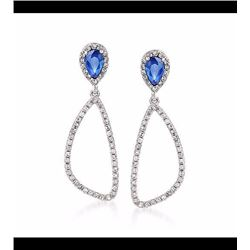 .50 ct. t.w. Sapphire and .30 ct. t.w. Diamond Open Drop Earrings in 14kt White Gold