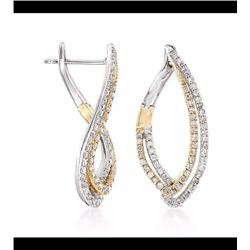 """.52 ct. t.w. Diamond Twisted Marquise Hoop Earrings in 14kt Two-Tone Gold. 7/8"""""""
