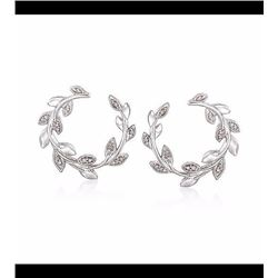 .10 ct. t.w. Diamond Laurel Wreath Hoop Earrings in Sterling Silver. 3/4""