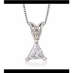 .27 Carat Trillion-Cut Diamond Solitaire Necklace in 14kt White Gold. 18""
