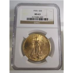 1925 MS 63 NGC $ 20 Gold Saint Gauden's