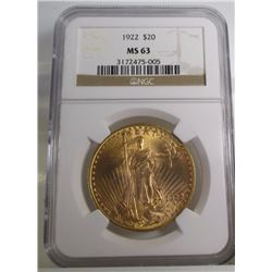 1922 $ 20 Gold Saint Gauden's MS 63 NGC