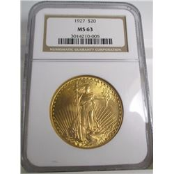 1927 MS 63 $ 20 Gold Saint Gauden's NGC