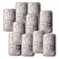 (10) Morgan Design Silver Bars -1 oz Each