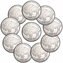 (10) 1 oz. Silver Buffalo Rounds
