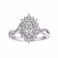 Cherish Always Certified Diamond Double Halo Marquise Engagement Ring in 10k White Gold (1/2 Carat T