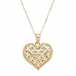 Everlasting Gold 10k Gold Openwork Heart Pendant Necklace