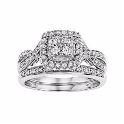 Simply Vera Vera Wang 14k White Gold 1/2 Carat T.W. Certified Diamond Square Halo Engagement Ring Se