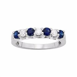 The Regal Collection Genuine Blue Sapphire & 1/3 Carat T.W. IGL Certified Diamond 14k White Gold Rin