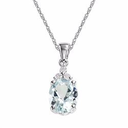 10k White Gold Aquamarine & Diamond Accent Pendant