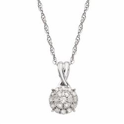 1/10 Carat T.W. Diamond 10k White Gold Halo Pendant Necklace