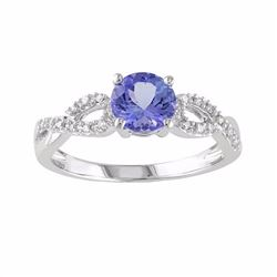 Tanzanite & 1/10 Carat T.W. Diamond Engagement Ring in 10k White Gold