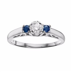 Cherish Always Round-Cut Diamond & Sapphire Engagement Ring in 10k White Gold (1/6 ct. T.W.)
