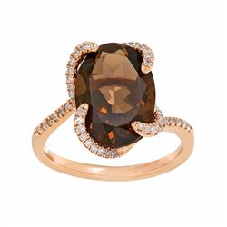10k Rose Gold Smoky Quartz & 1/5 Carat T.W. Diamond Oval Ring