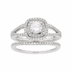 14k White Gold 1 Carat T.W. IGL Certified Diamond Square Halo Engagement Ring Set