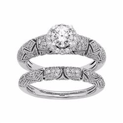 IGL Certified Diamond Art Deco Halo Engagement Ring Set in 14k White Gold (1 Carat T.W.)