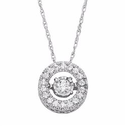 Dancing Love 1/4 Carat T.W. Diamond 10k White Gold Halo Pendant Necklace